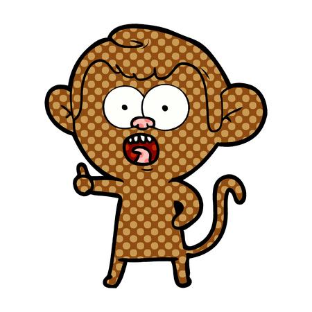 cartoon shocked monkey Ilustrace