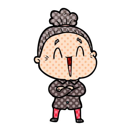 Cartoon happy old lady Stock fotó - 95468533