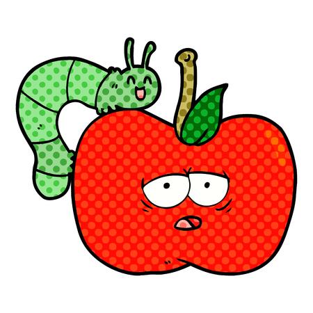 cartoon apple and bug Ilustracja