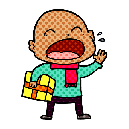 cartoon shouting bald man with present 일러스트