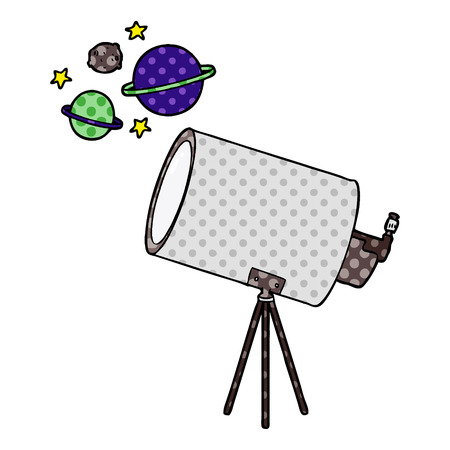 Hand drawn cartoon telescope looking at planets