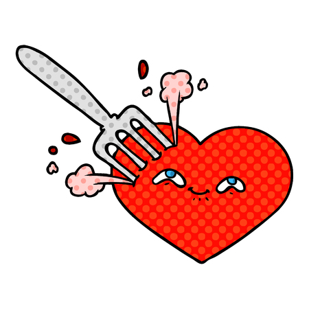 Hand drawn cartoon love heart stuck with fork