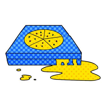 漫画の脂っこいピザ  イラスト・ベクター素材