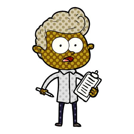 Shocked cartoon salesman vector illustration