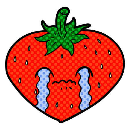 A cartoon strawberry isolated on white background. Иллюстрация