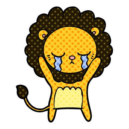 Hand drawn crying cartoon lion Illusztráció