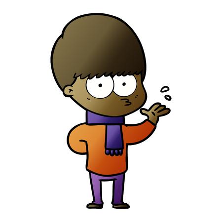 nervous cartoon boy Illustration
