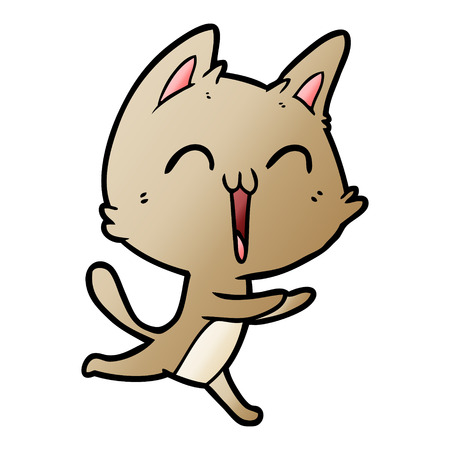 happy cartoon cat meowing