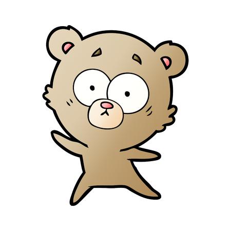 Hand drawn anxious bear cartoon