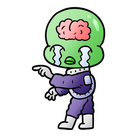 cartoon big brain alien crying and pointing Vector illustration. Illusztráció