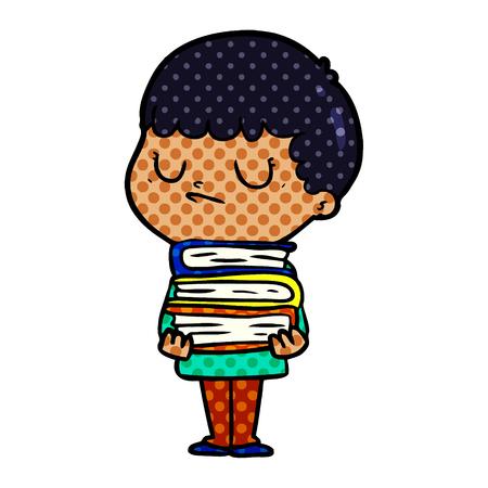 Hand drawn cartoon grumpy boy Vectores