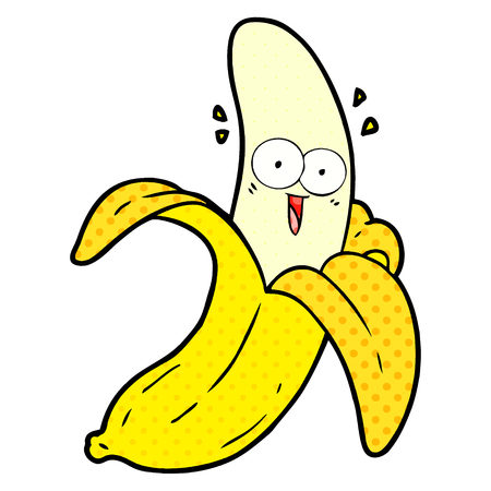 cartoon crazy happy banana Ilustracja