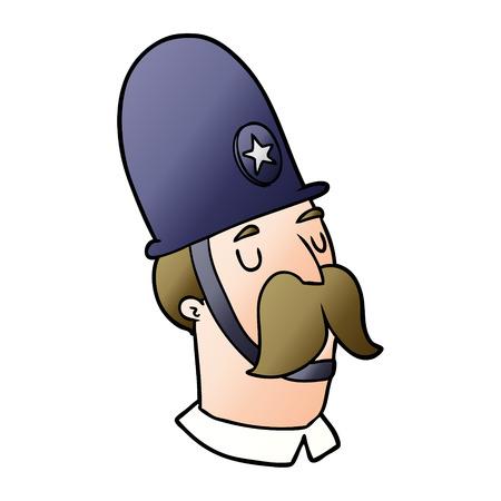 口ひげベクトルイラストと漫画の警官。