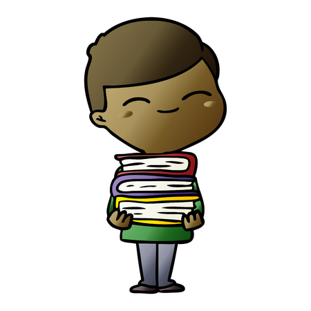 cartoon smiling boy with stack of books Vector illustration. Illustration