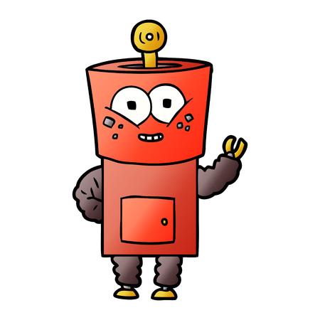 happy cartoon robot waving hello Vector illustration. Standard-Bild - 95479531