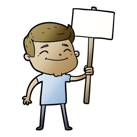 Hand drawn happy cartoon man with placard