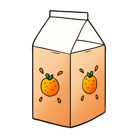 A cartoon orange juice carton