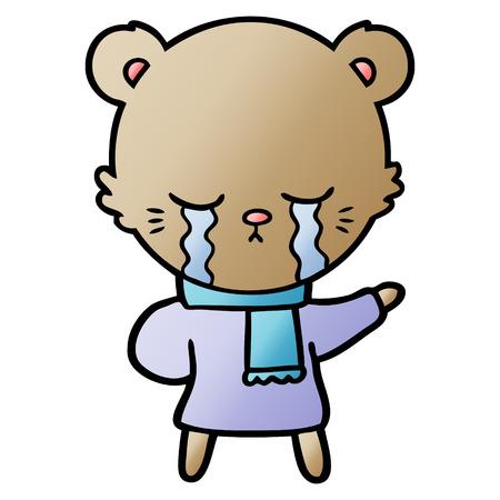 Crying cartoon bear wearing winter clothes isolated on white background Ilustracja