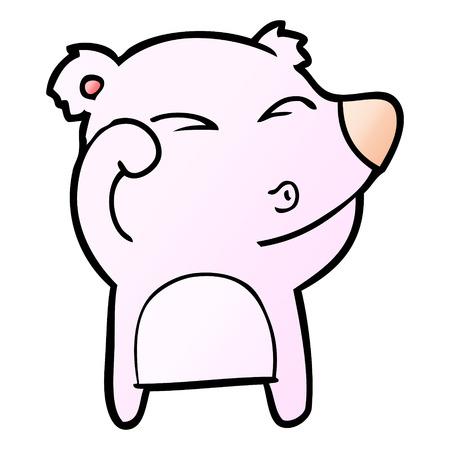 A cartoon tired bear rubbing eyes Illustration