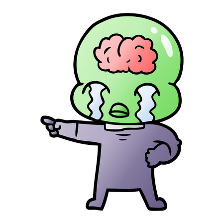 A cartoon alien with visible brain is crying and pointing