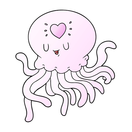 A cartoon jellyfish in love