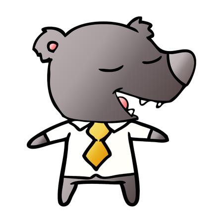 cartoon bear wearing shirt and tie