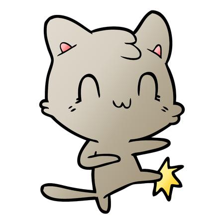 A cartoon happy cat doing karate Çizim
