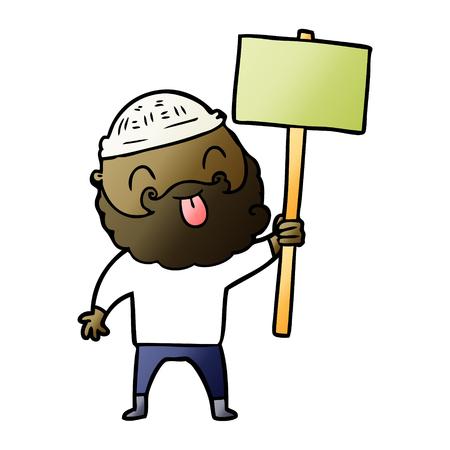 Bearded protester cartoon