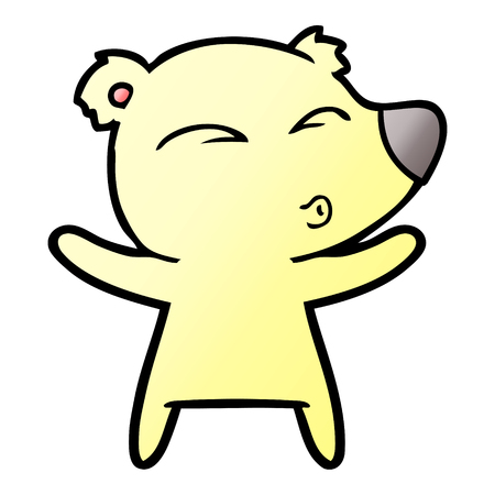 Cartoon whistling bear with open arms