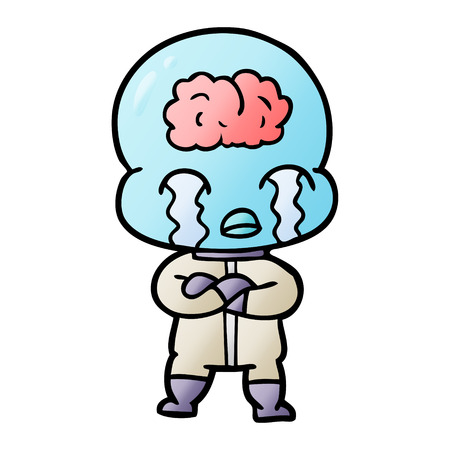 A cartoon alien with visible brain crying