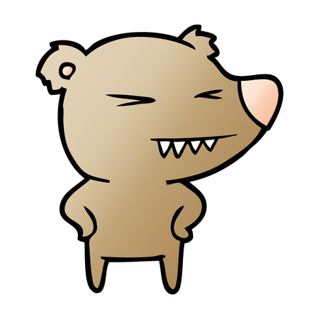 angry bear cartoon with hands on hips Vector illustration. Illustration