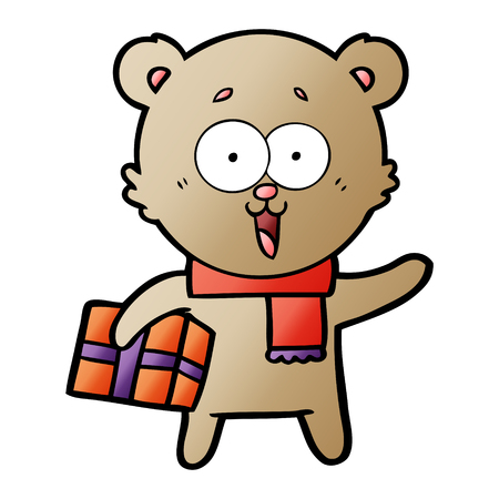 laughing teddy  bear with christmas present