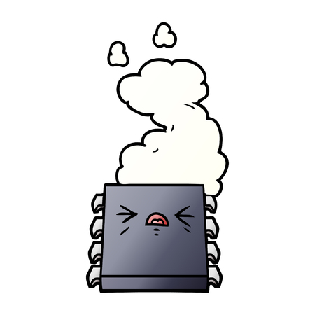 cartoon overheating computer chip Vector illustration.