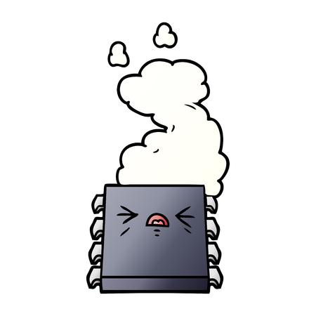 cartoon overheating computer chip Vector illustration.