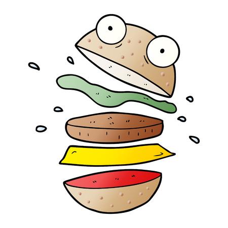 Cartoon amazing burger Çizim