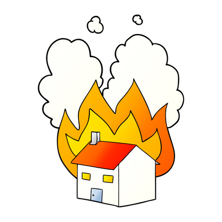 Cartoon burning house