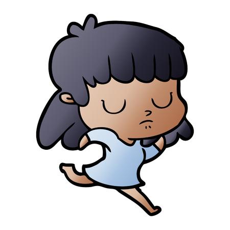 cartoon indifferent woman running Vector illustration.