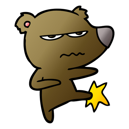 Angry bear cartoon kicking