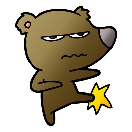 Angry bear cartoon kicking