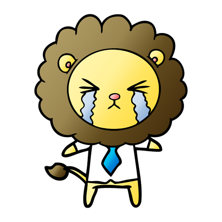 Cartoon crying lion wearing shirt and tie isolated on white background