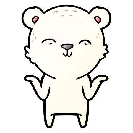 Happy cartoon polar bear shrugging shoulders