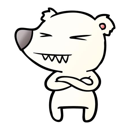 angry polar bear cartoon with folded arms Illusztráció