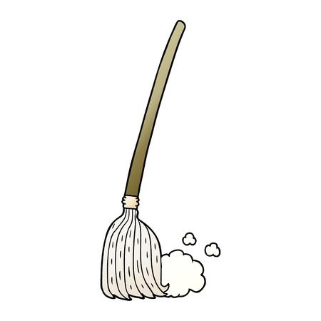 Cartoon broom sweeping Stock Illustratie