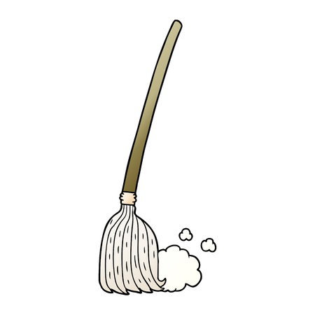 Cartoon broom sweeping Ilustracja