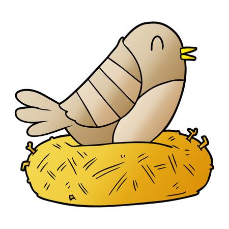 cartoon bird sitting on nest Illustration