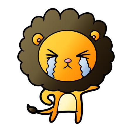 Cartoon crying lion Illusztráció