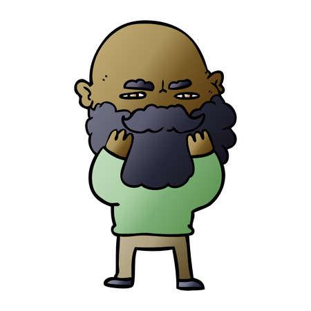 Cartoon man with beard frowning checking his beard Illustration
