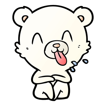 Rude cartoon polar bear sticking out tongue 일러스트