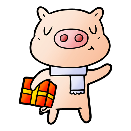 Cartoon christmas pig Illustration