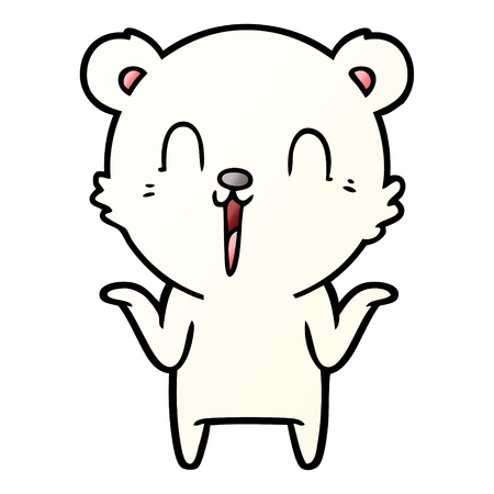 Happy cartoon polar bear with no worries